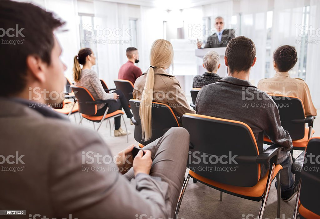 Group of business people attending an education event. stock photo