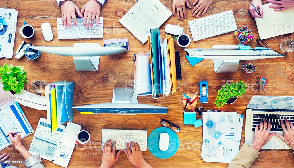 Group of Business People Busy Working in the Office stock photo