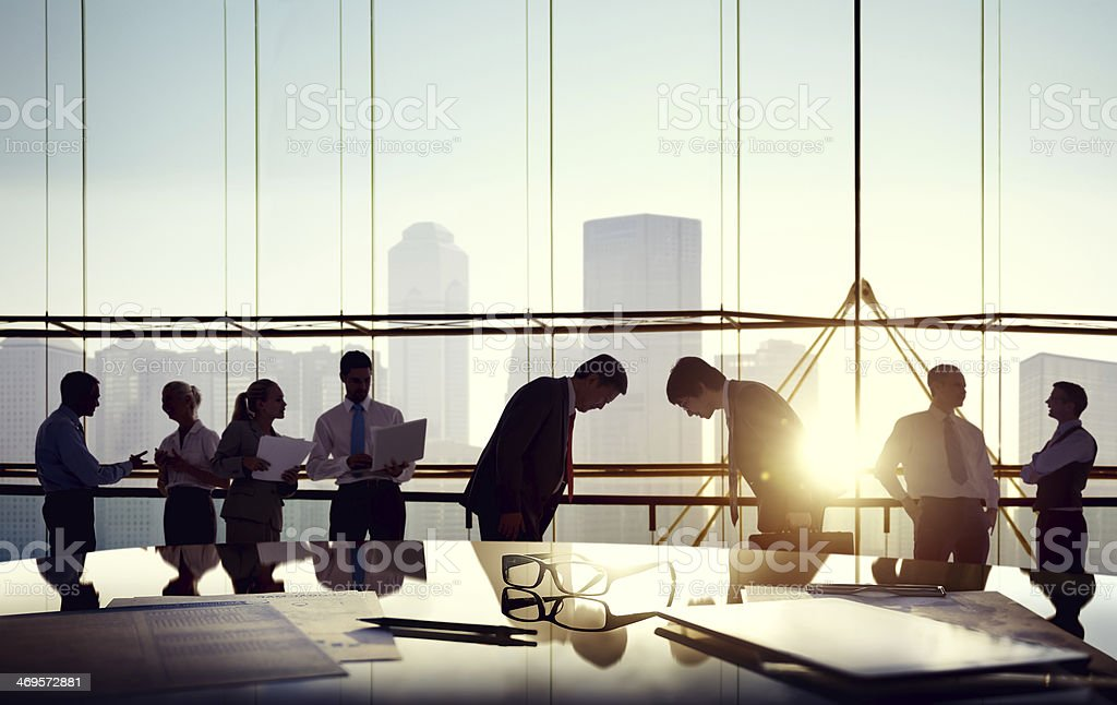 Group of business people discussing in the office stock photo