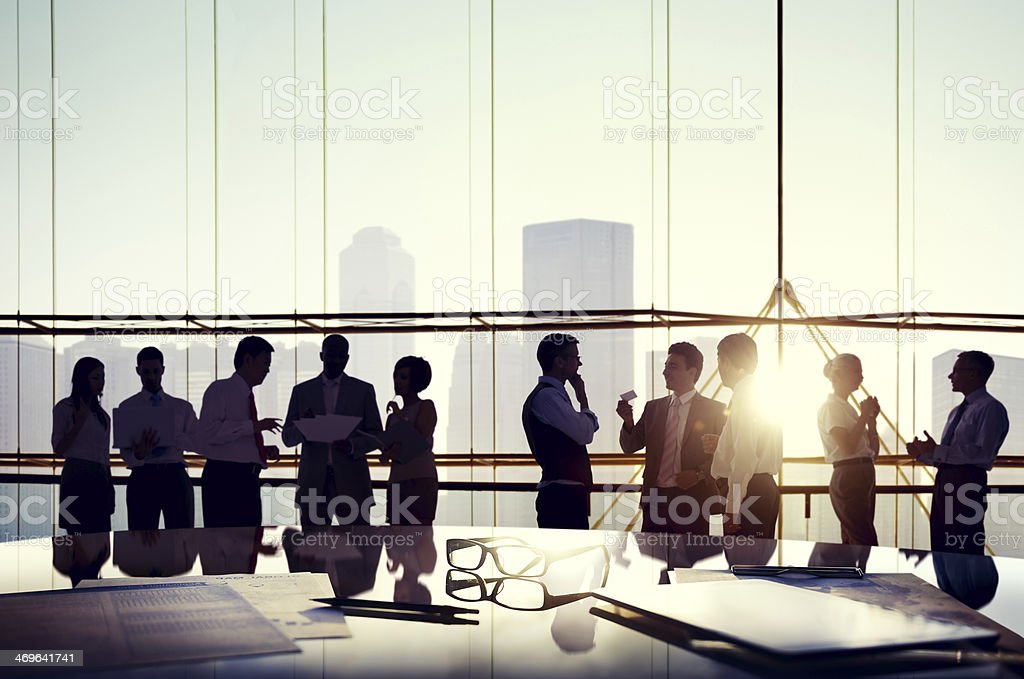 Group of business people discussing in the office royalty-free stock photo