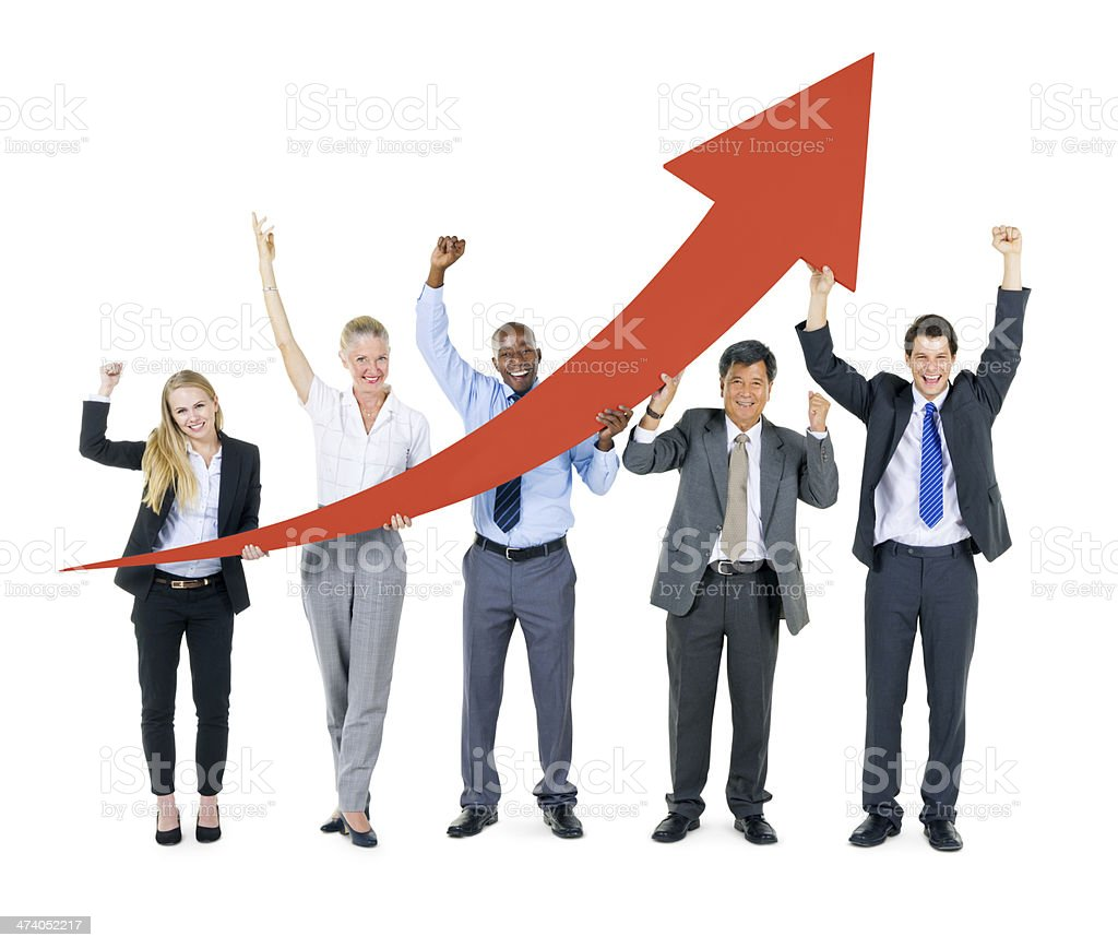 Group of Business People Facing Economic Boom stock photo