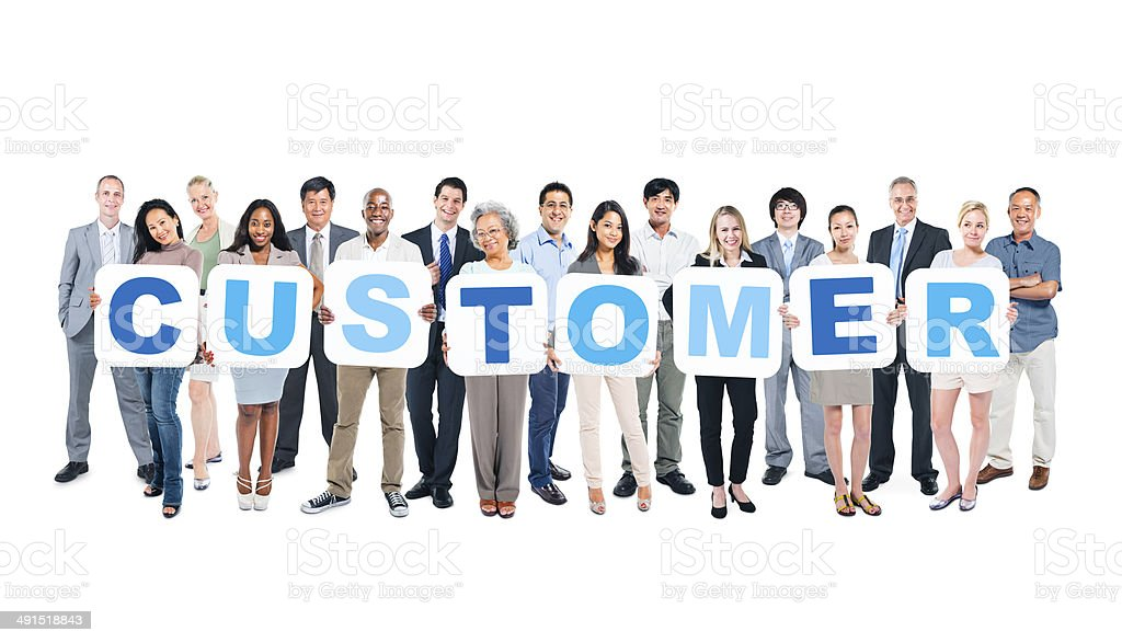 Group of Business People Holding Placards Forming Customer stock photo