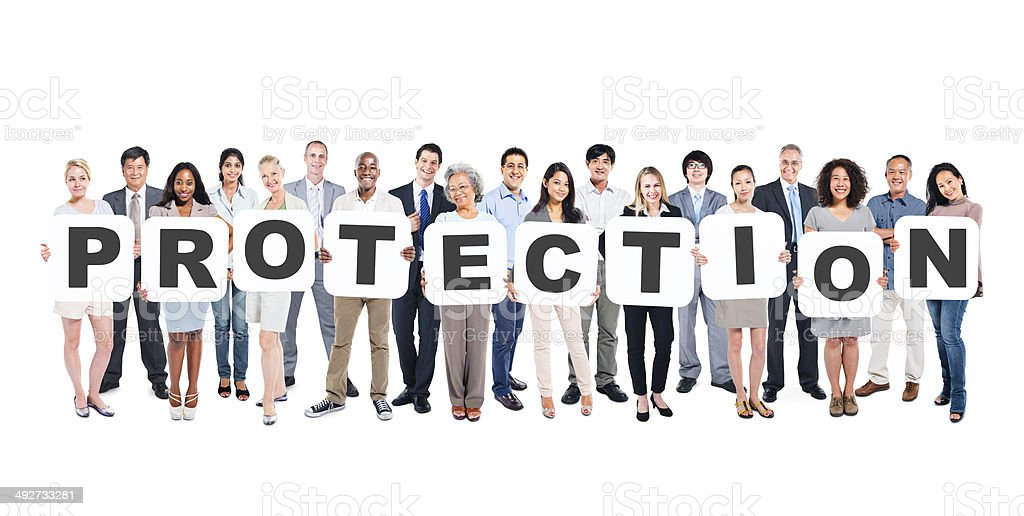 Group of Business People Holding Word Protection stock photo