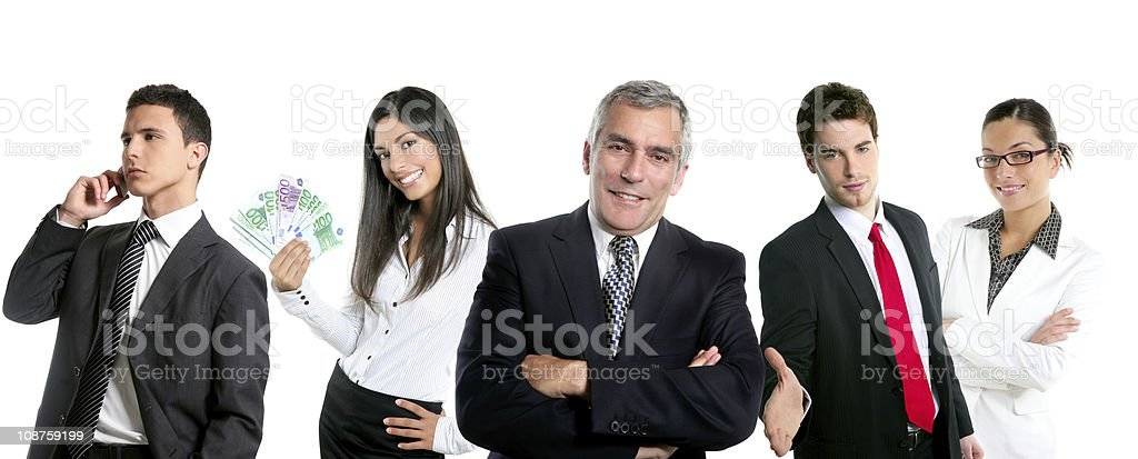 Group of business people in a line row isolated royalty-free stock photo