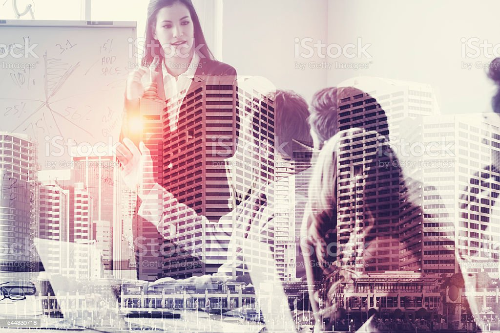 Group of business people in a presentation. stock photo
