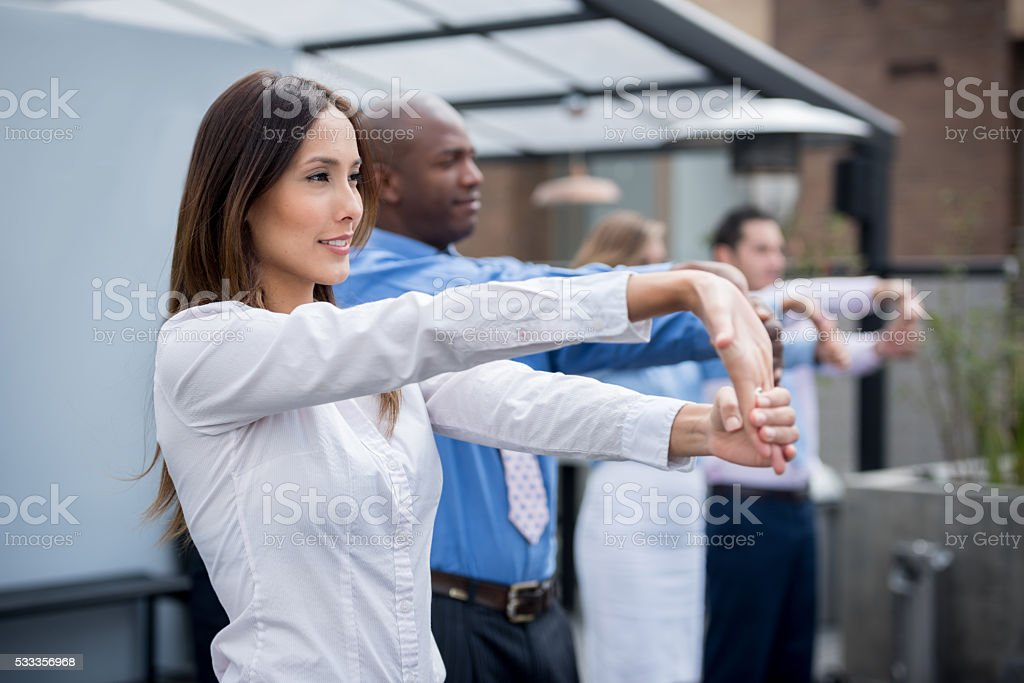 Group of business people in a work break stock photo