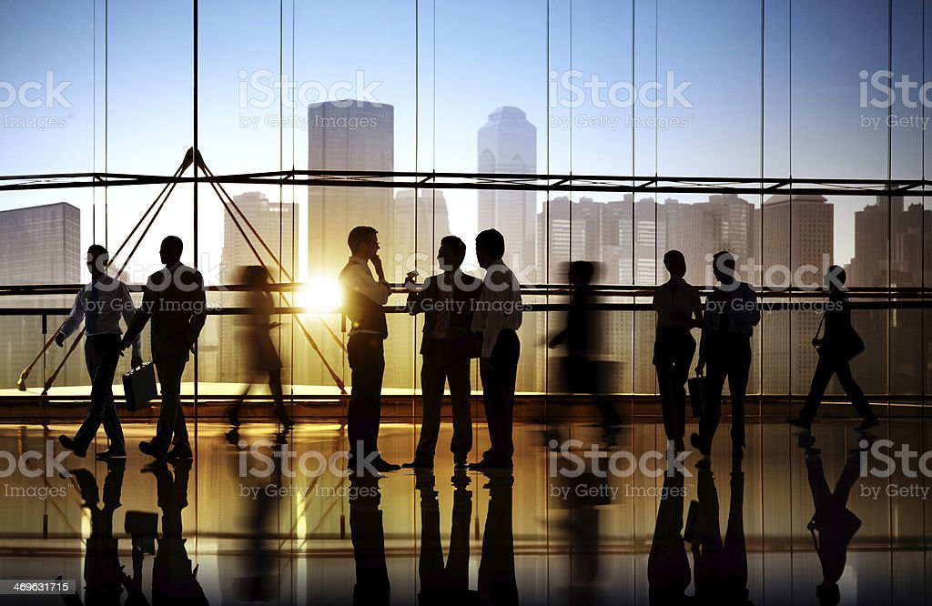 Group of Business People in Office Building stock photo