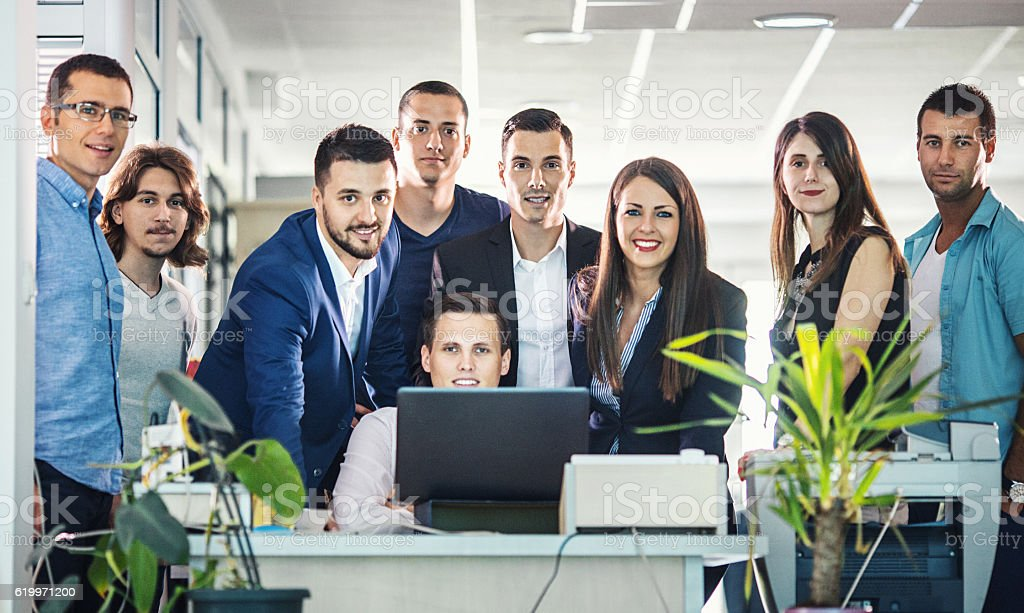 Group of business people in office. stock photo