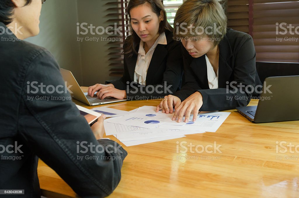 group of business people meeting about business stock photo