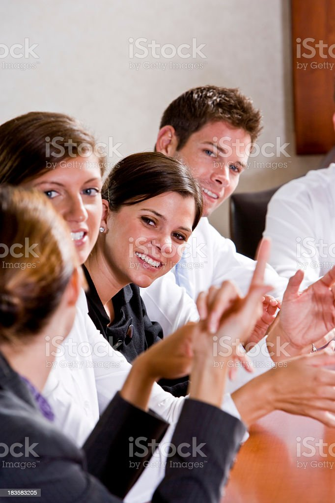 Group of business people meeting at table royalty-free stock photo