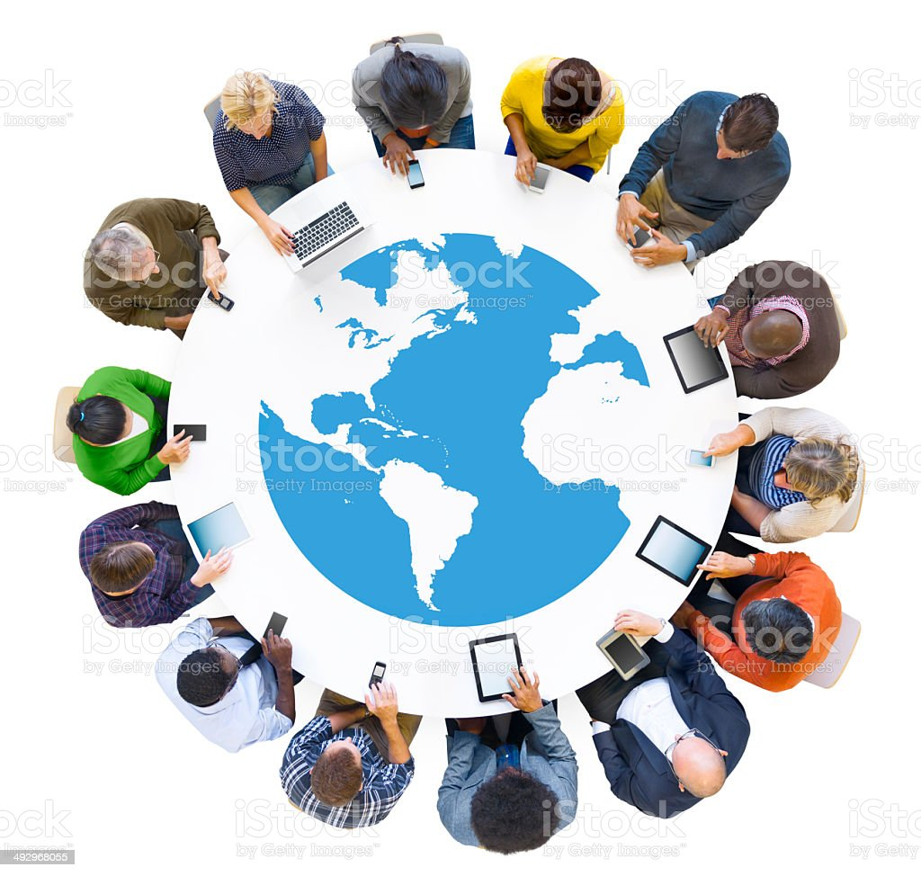 Group of Business People Meeting with Digital Device stock photo