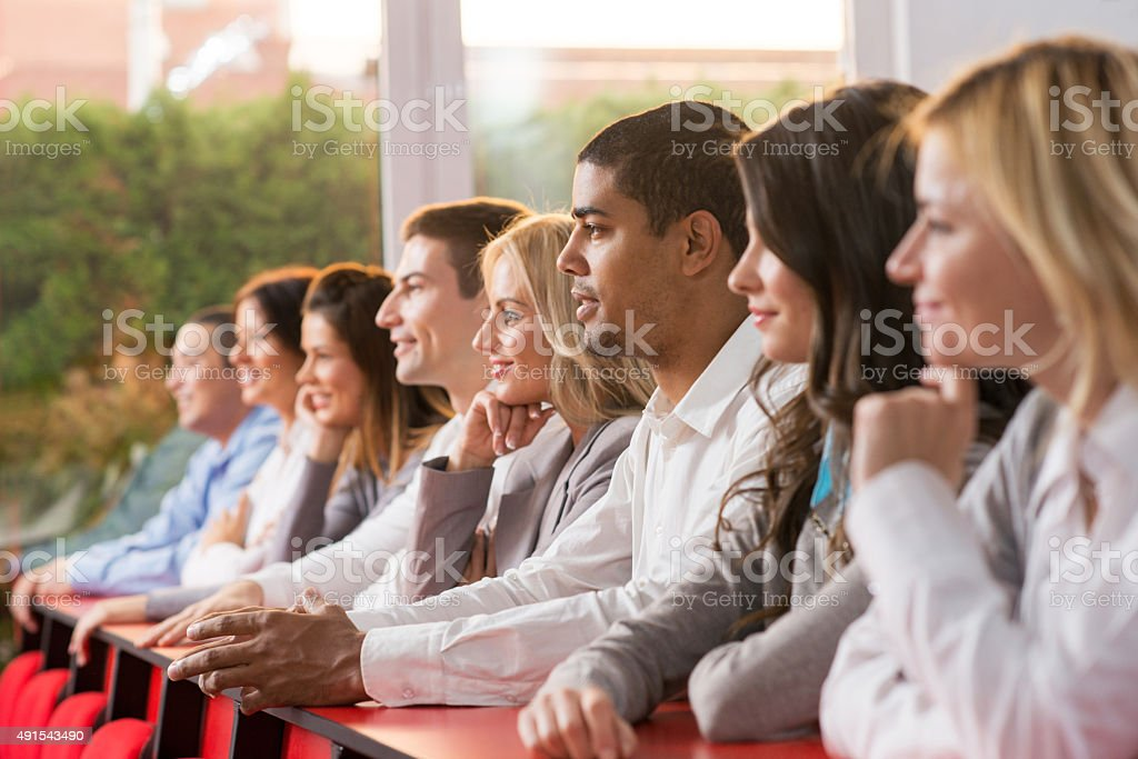 Group of business people on a conference. stock photo