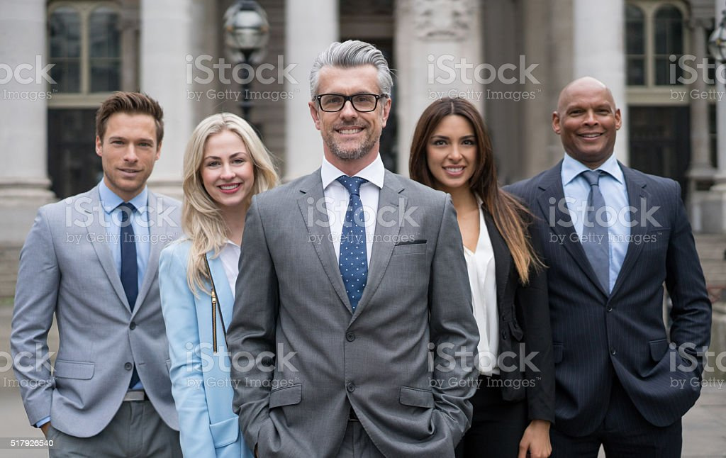 Group of business people outdoors stock photo