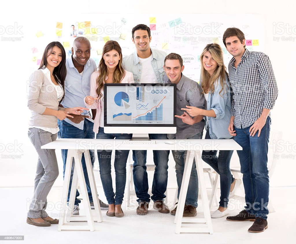 Group of business people showing development stock photo