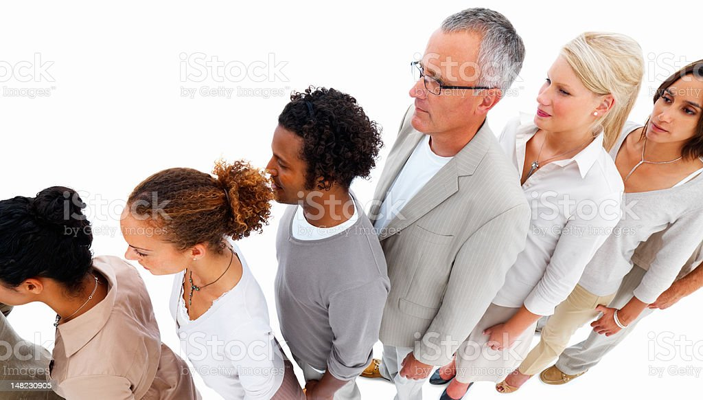 Group of business people standing in a line royalty-free stock photo