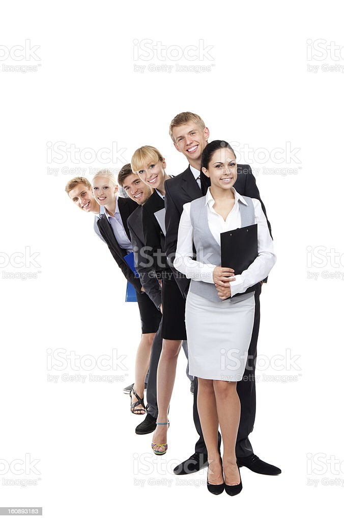 A group of business people standing in a line stock photo