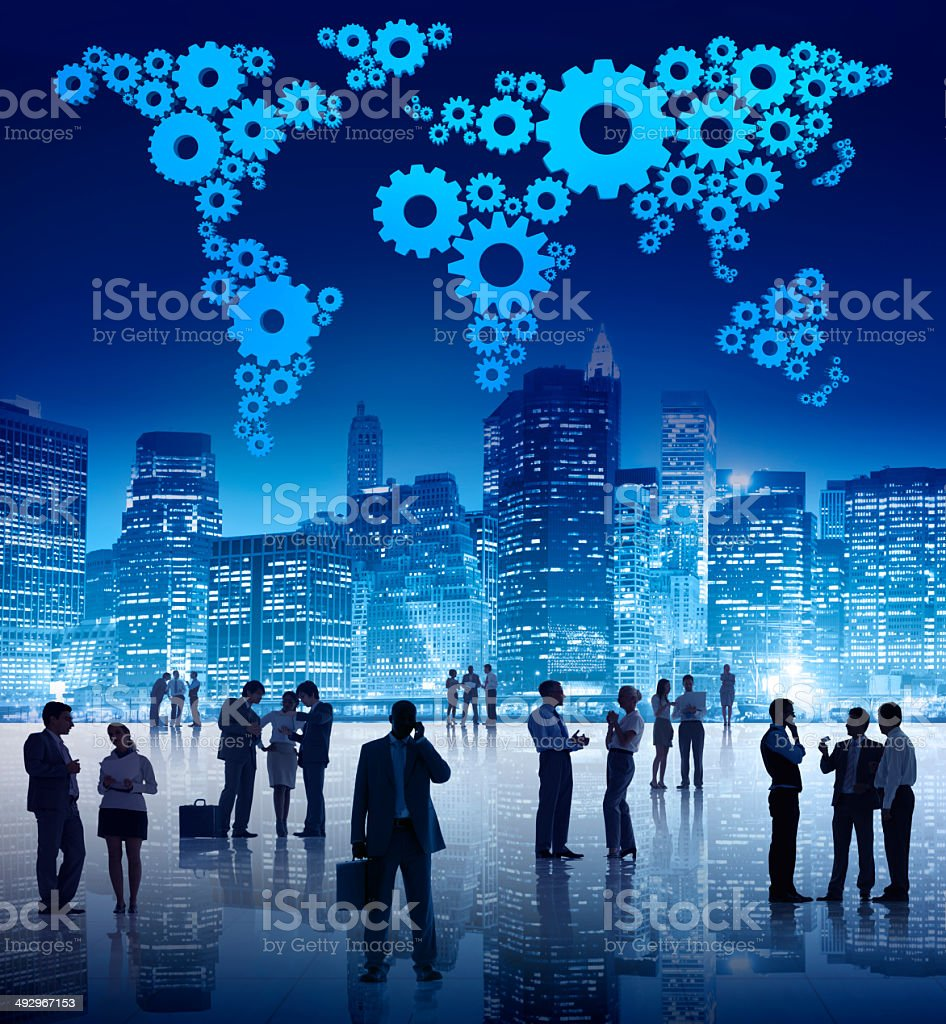 Group Of Business People Standing Outdoors In An Urban Scene stock photo