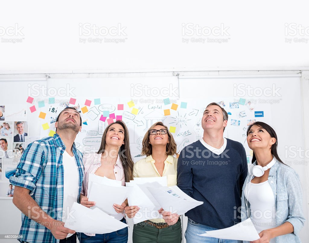 Group of business people thinking stock photo