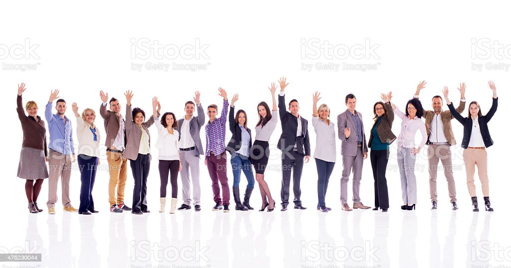 Group of business people waving and looking at camera. stock photo