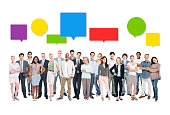 Group of Business People with Colourful Speech Bubbles