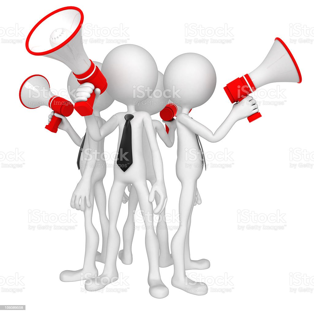 Group of business people with megaphone royalty-free stock photo