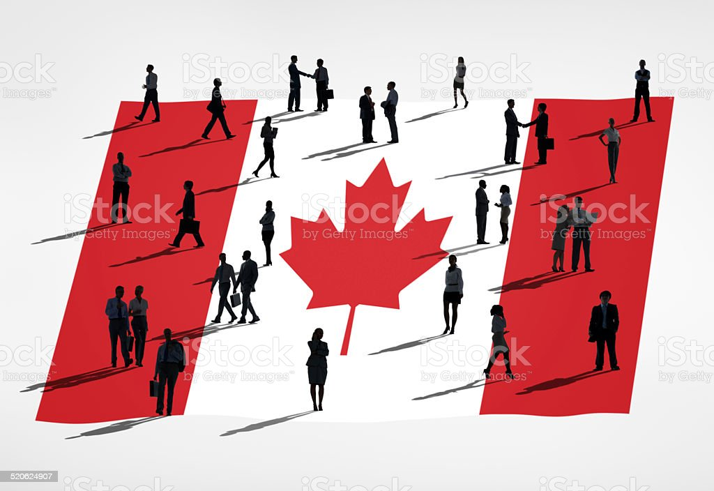 Group of Business People with the Flag of Canada stock photo