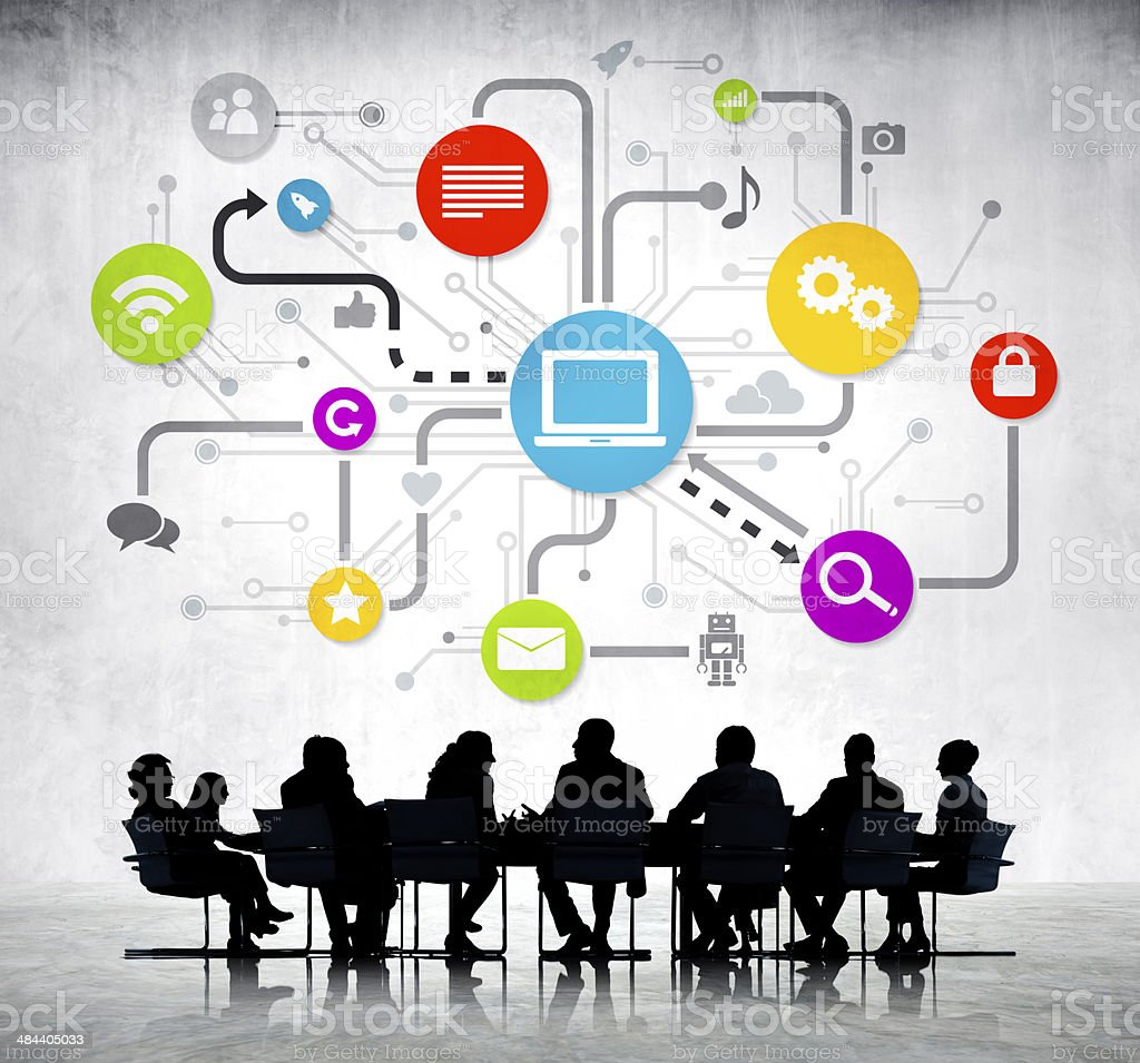 Group Of Business People Working And Global Networking stock photo