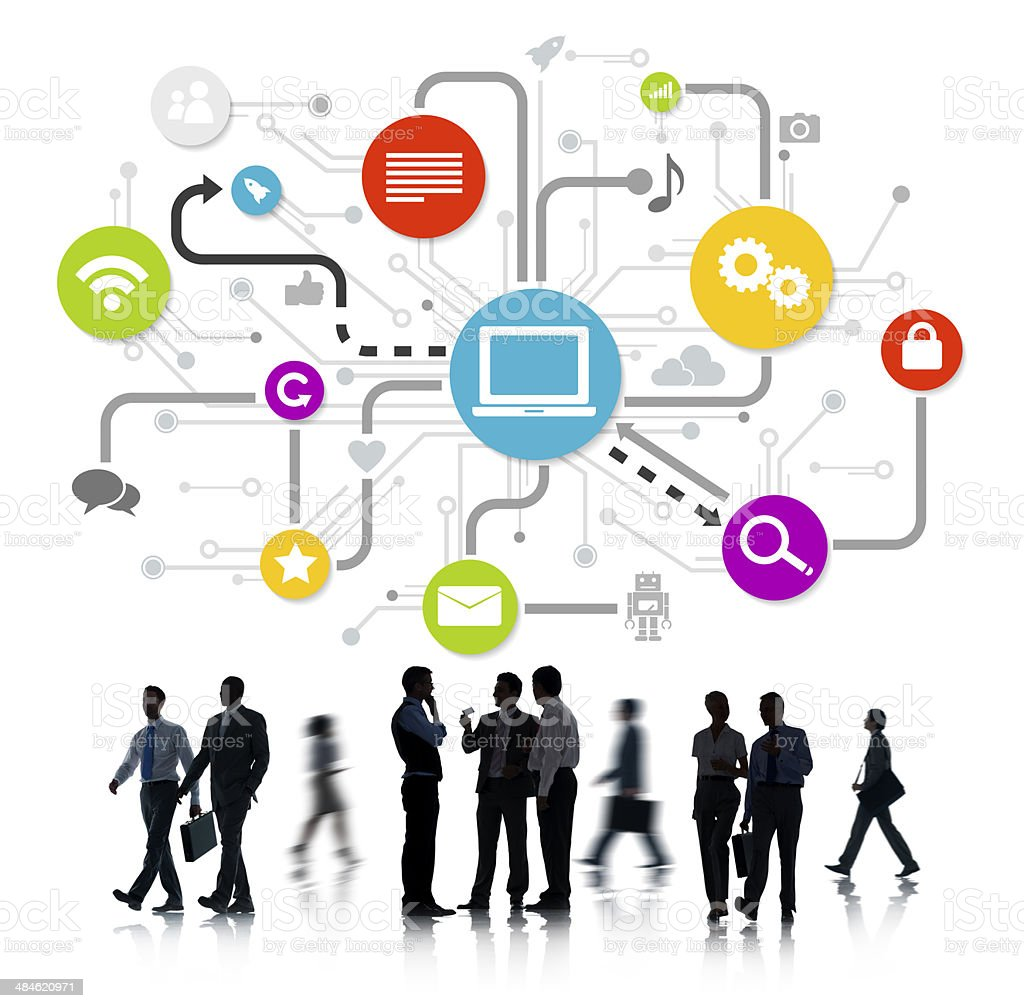 Group Of Business People Working And Global Networking Themed Im stock photo