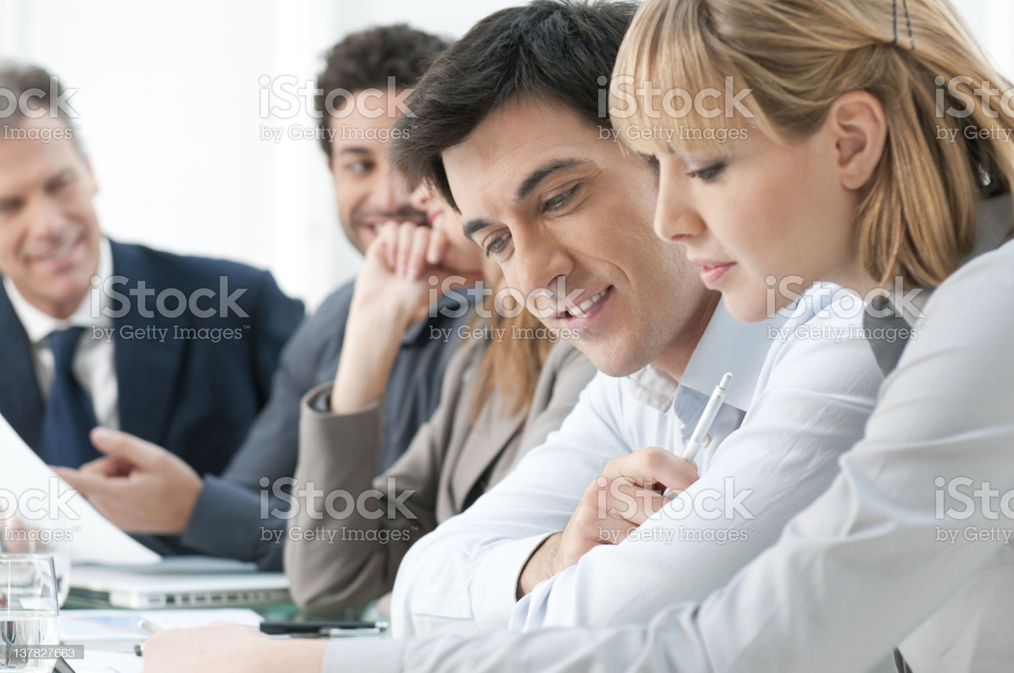 A group of business professionals working together royalty-free stock photo