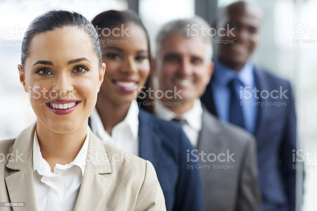 group of business team standing in a row stock photo