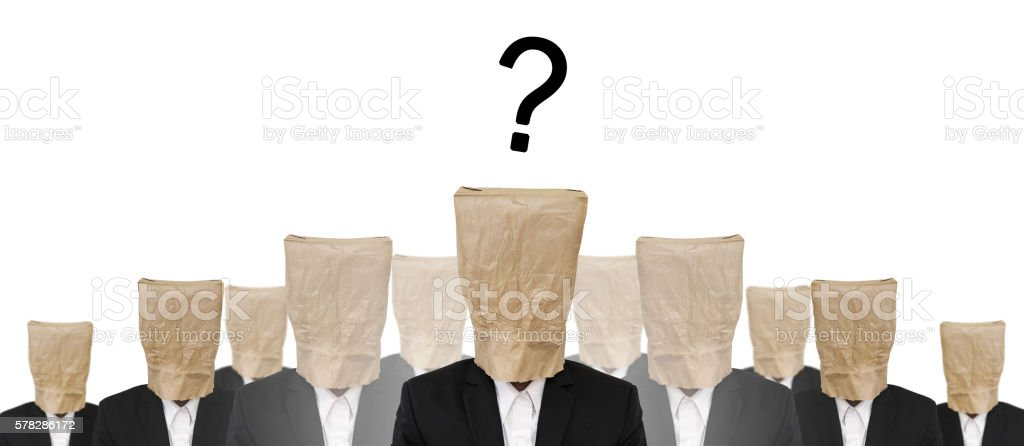 Group of businessman with brown paper bag, and Question mark stock photo