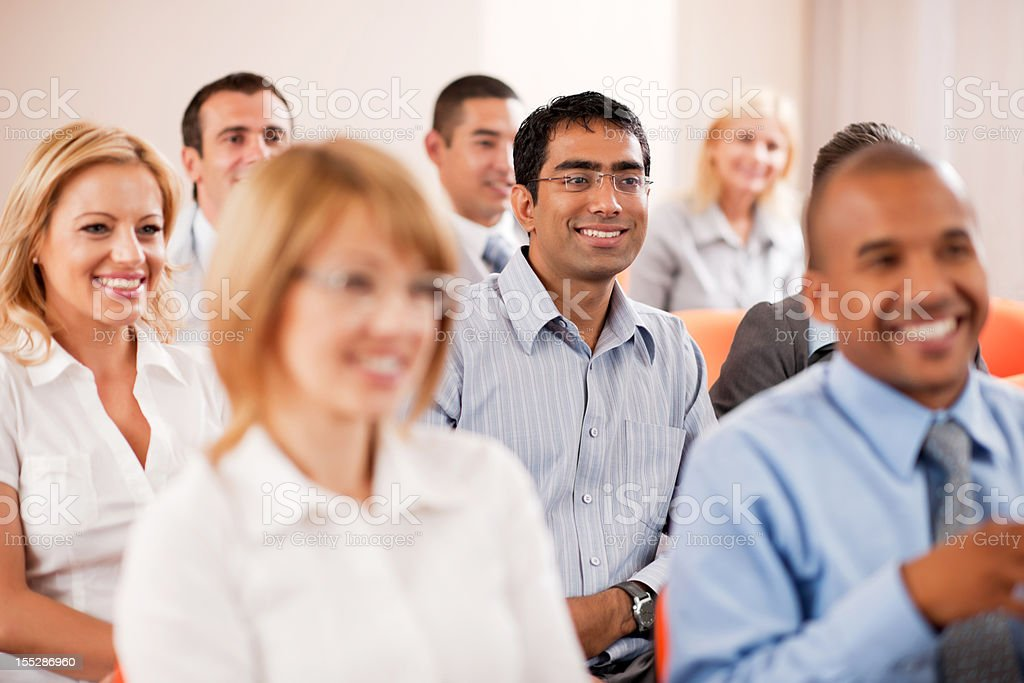 Group of businesspeople on a seminar. stock photo
