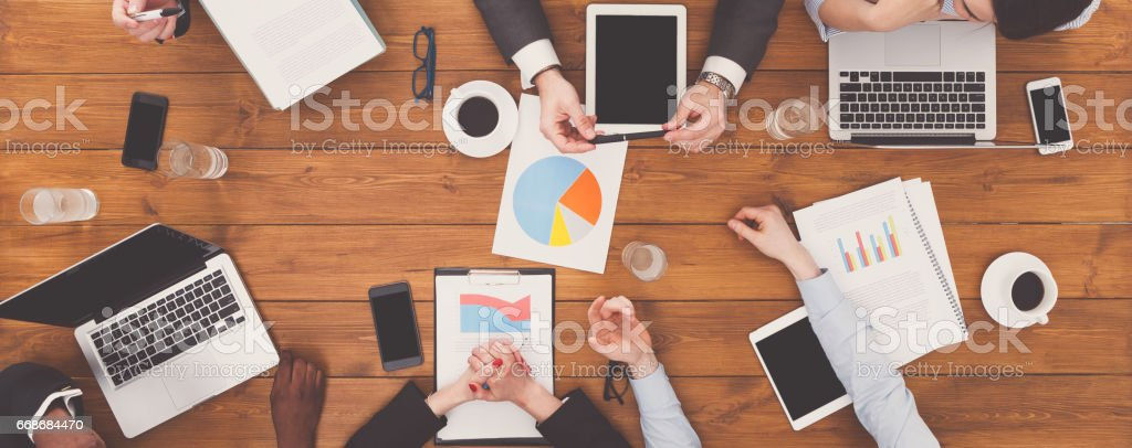 Business meeting top view. Busy people work in office, above view of...