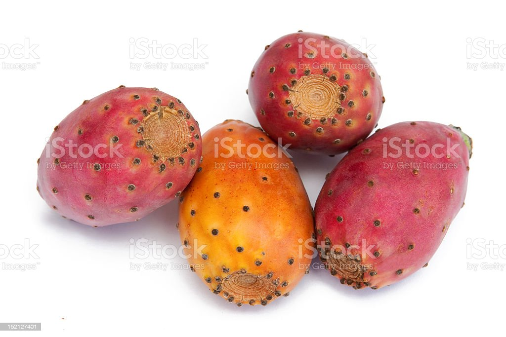 Group of cactus fruit on a white background stock photo