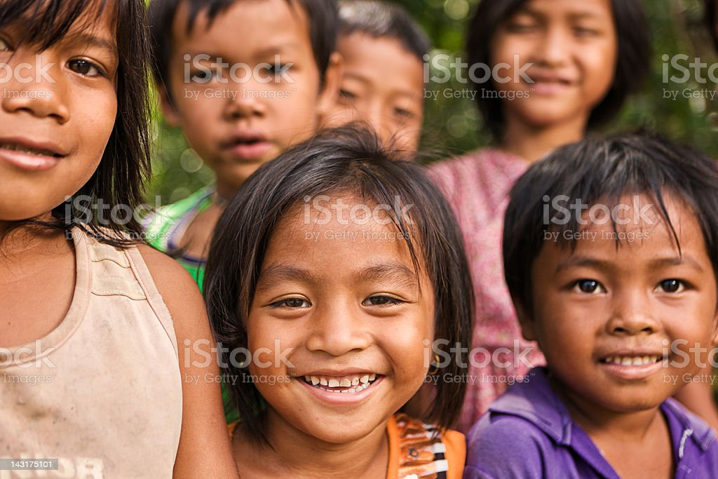 Group of Cambodian children stock photo