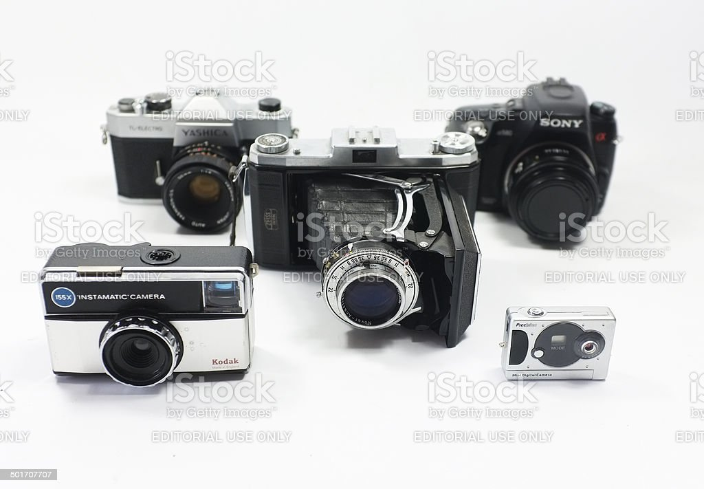Group of cameras stock photo