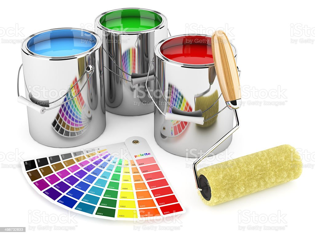 Group of can paints, roller brush and palette of colors stock photo