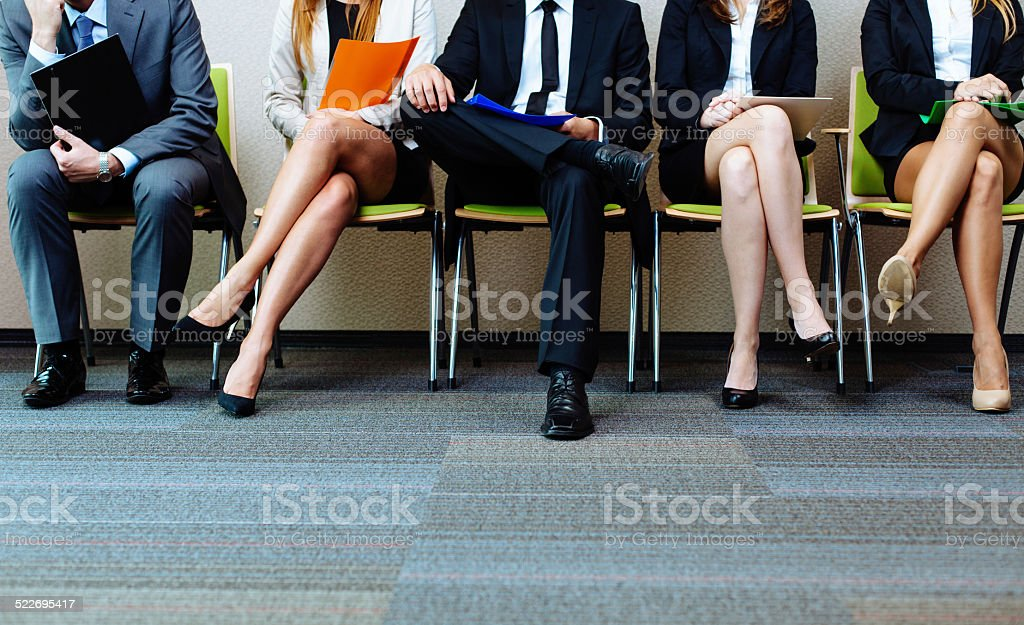 Group of candidates waiting to be interviewed stock photo
