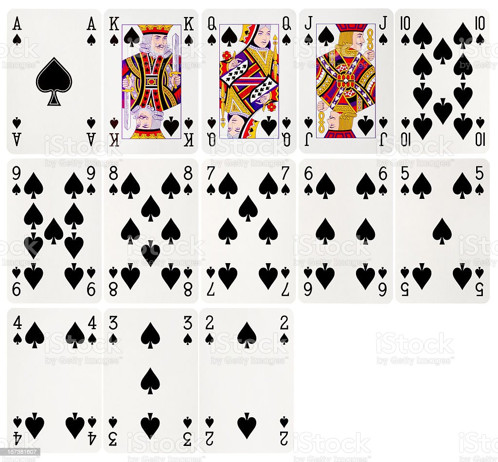 Group of cards belonging to the spade suit stock photo