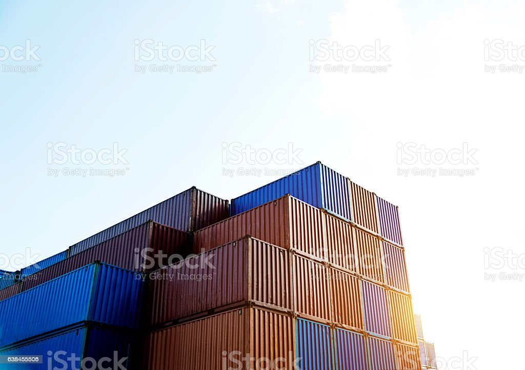 Group of cargo containers stock photo