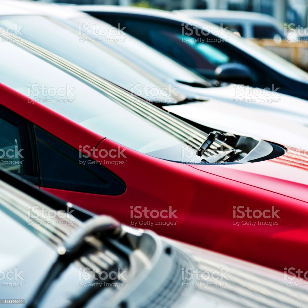 Group of cars in a row stock photo