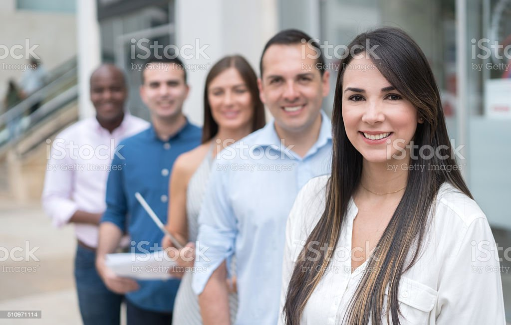 Group of casual business people outdoors stock photo