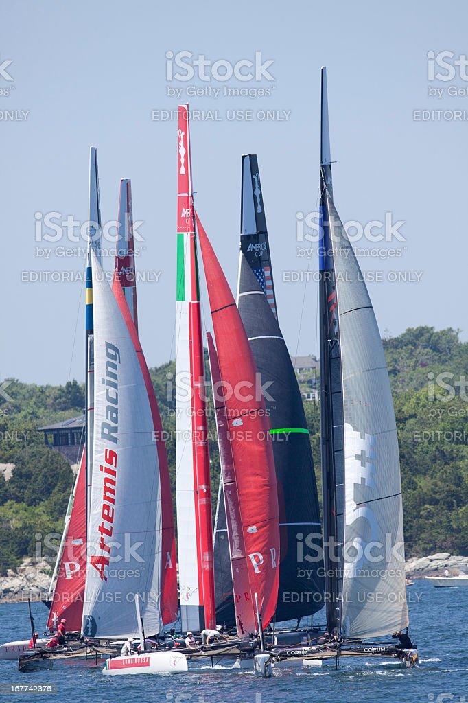 Group of Catamaran Racing Yachts stock photo