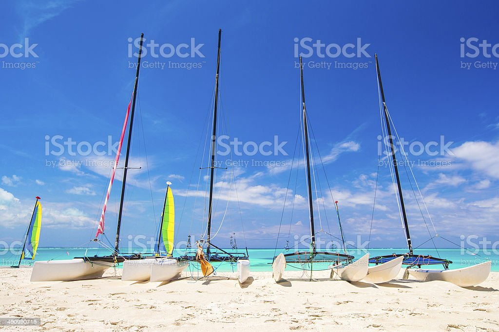 Group of catamarans with colorful sails on exotic Caribbean beach stock photo