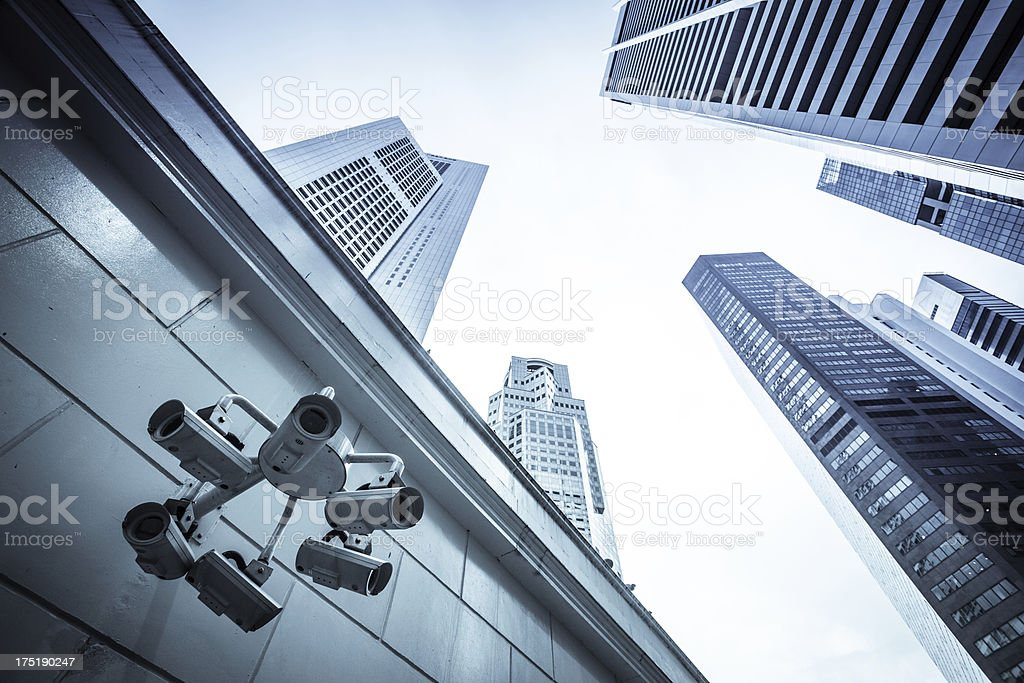 Group of CCTV Security Camera in Singapore Financial District stock photo