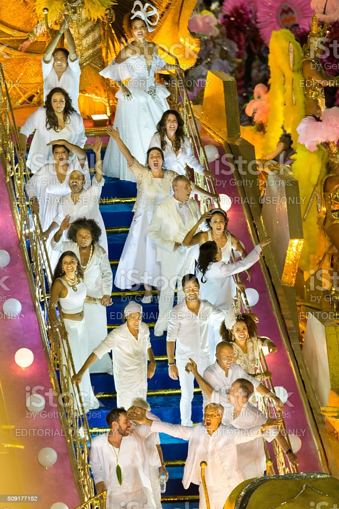 Group of celebrities on a carnival float royalty-free stock photo