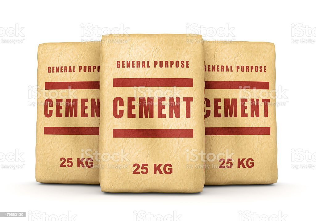 Group of cement bags stock photo