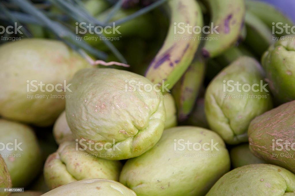 Group Of Chayote At A Caribbean Market Stall stock photo