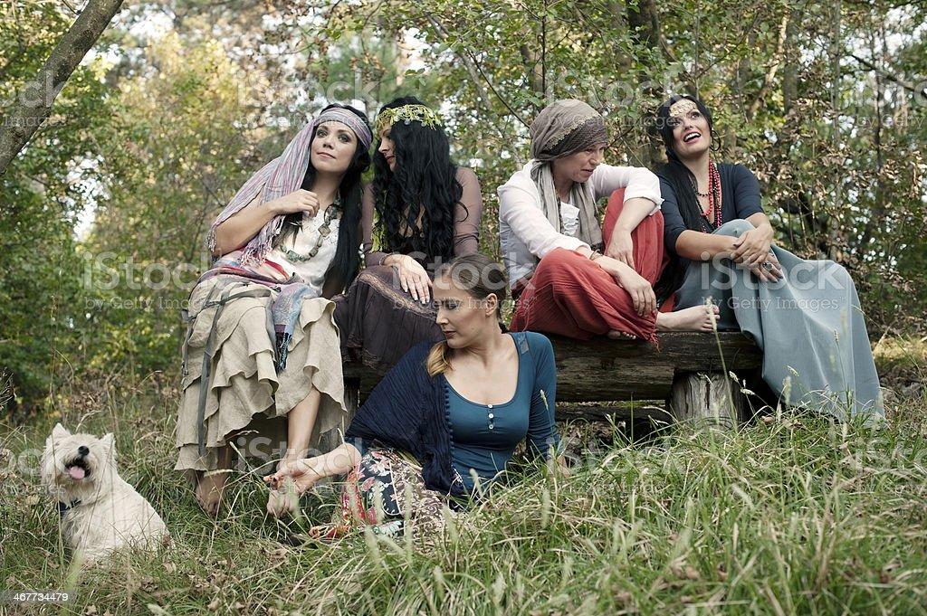 Group of Cheerful Bohemian Gypsy Women royalty-free stock photo