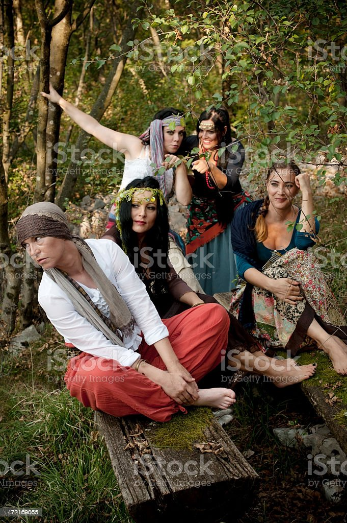 Group of Cheerful Bohemian Gypsy Women stock photo